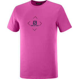 Salomon Cotton SS Tee Men, fuchsia red/purple potion/night sky